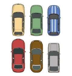 cars set top view vector image vector image