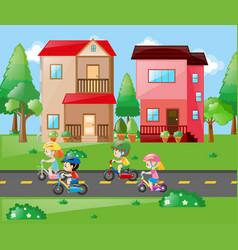 children cycling in the neighborhood vector image
