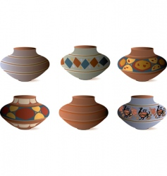 clay pottery collection vector image