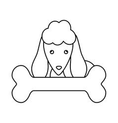 Cute dog and bone icon vector