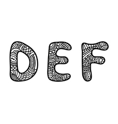 Doodle hand drawn letters vector image vector image