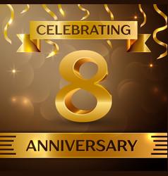 Eight years anniversary celebration design vector