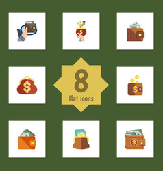 flat icon wallet set of saving currency money vector image