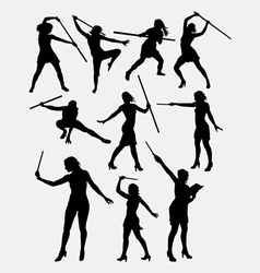 Girl with stick female sport silhouette vector