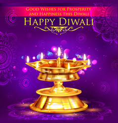 Golden diya stand on abstract Diwali background vector image