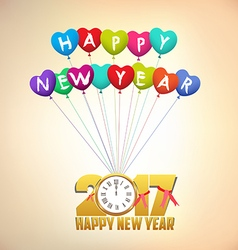 Happy new year 2017 background with gold clock and vector
