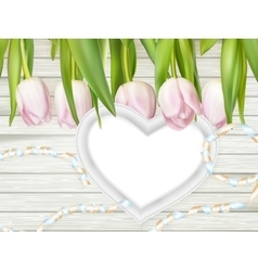 Heart shape frame with tulips EPS 10 vector image vector image