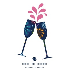Holiday fireworks toasting wine glasses vector