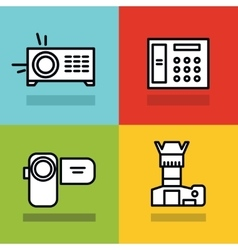 Household appliances icons with black stroke on vector image