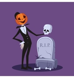 Jack o lantern near the grave halloween vector