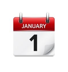 January 1 flat daily calendar icon date vector