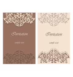 Lace ornament invitation card vector