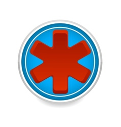 medic symbol red color on the blue circle vector image vector image