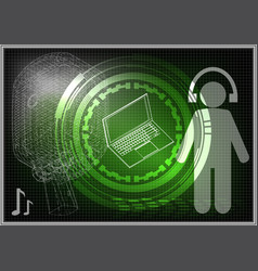 microphone laptop and man vector image