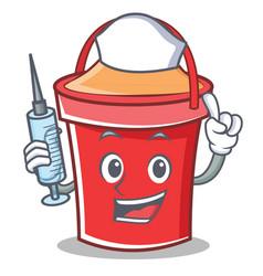 nurse bucket character cartoon style vector image vector image