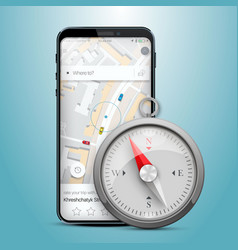 phone gps navigation map compass vector image