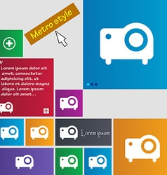 projector icon sign Metro style buttons Modern vector image