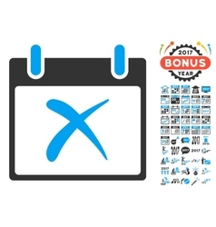 Reject calendar day flat icon with bonus vector