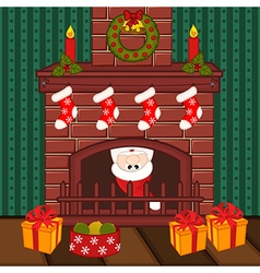 Santa Claus inside fireplace vector image vector image
