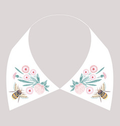 satin stitch embroidery design with flowers and vector image vector image