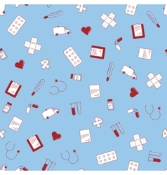 seamless texture with cute flat medical vector image