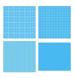 Set of four white geometric grids on cyan vector image vector image