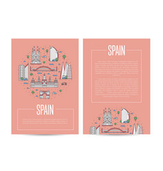 spain traveling advertising in linear style vector image vector image