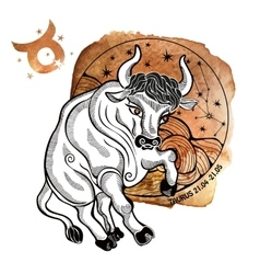 Taurus zodiac signhoroscope circlewatercolor vector