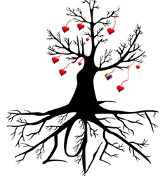 tree with hearts and the word LOVE vector image vector image