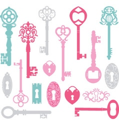 Vintage keys silhouette pink blue grey vector