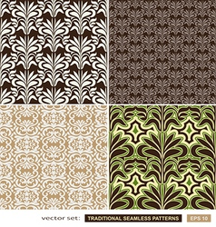 Vintage ornamental backgrounds set - brown green vector image