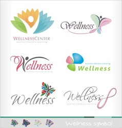 wellness logo spa symbol healthy style butterfly vector image
