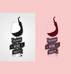 wine label badge or logo concept with wine vector image