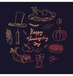 Happy thanksgiving day hand drawn holiday design vector