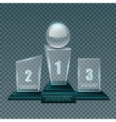 Empty glass trophy awards set design vector