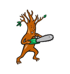 Tree Man Arborist With Chainsaw vector image