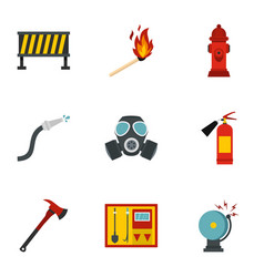fire emergency icons set flat style vector image