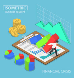 Isometric businessman trying to stop falling graph vector