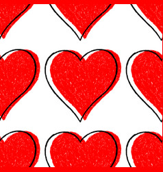 seamless pattern red heart with contour vector image