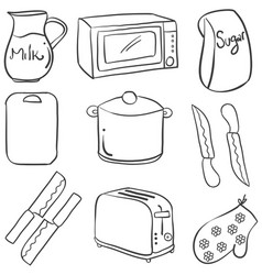 Kitchen set element doodle style vector