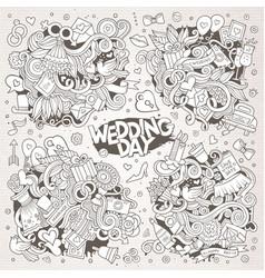 Wedding and love sketchy doodle designs vector
