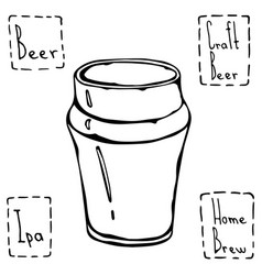 Beer glass nonic pint type hand drawn vector