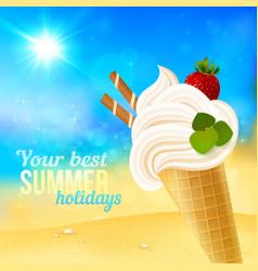 Soft strawberry ice-cream on beach background vector
