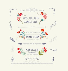Editable wedding floral vintage design vector