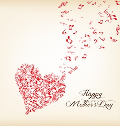 hearts shape out of music flies motherss day vector image