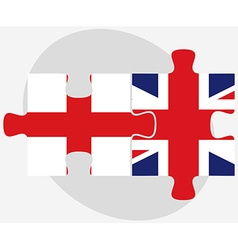 England and united kingdom flags in puzzle vector