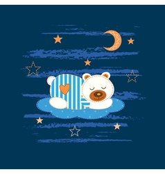 Baby background with sleeping bear vector