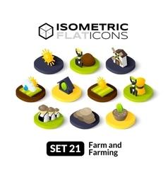 Isometric flat icons set 21 vector image