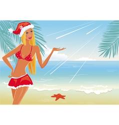 girl on the beach in santa hat vector image