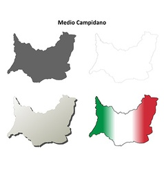 Medio campidano blank detailed outline map set vector